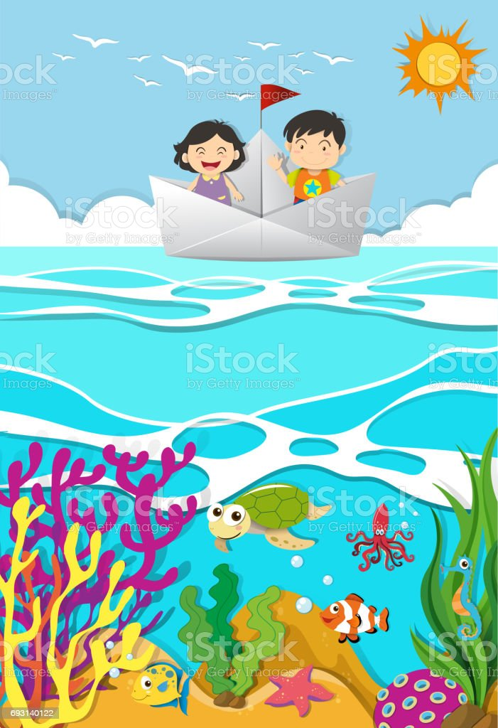 Kids rowing on paper boat vector art illustration