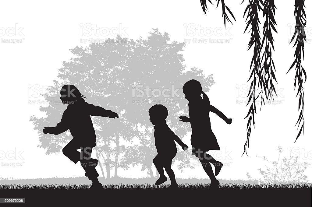 Kids Running Outdoors vector art illustration