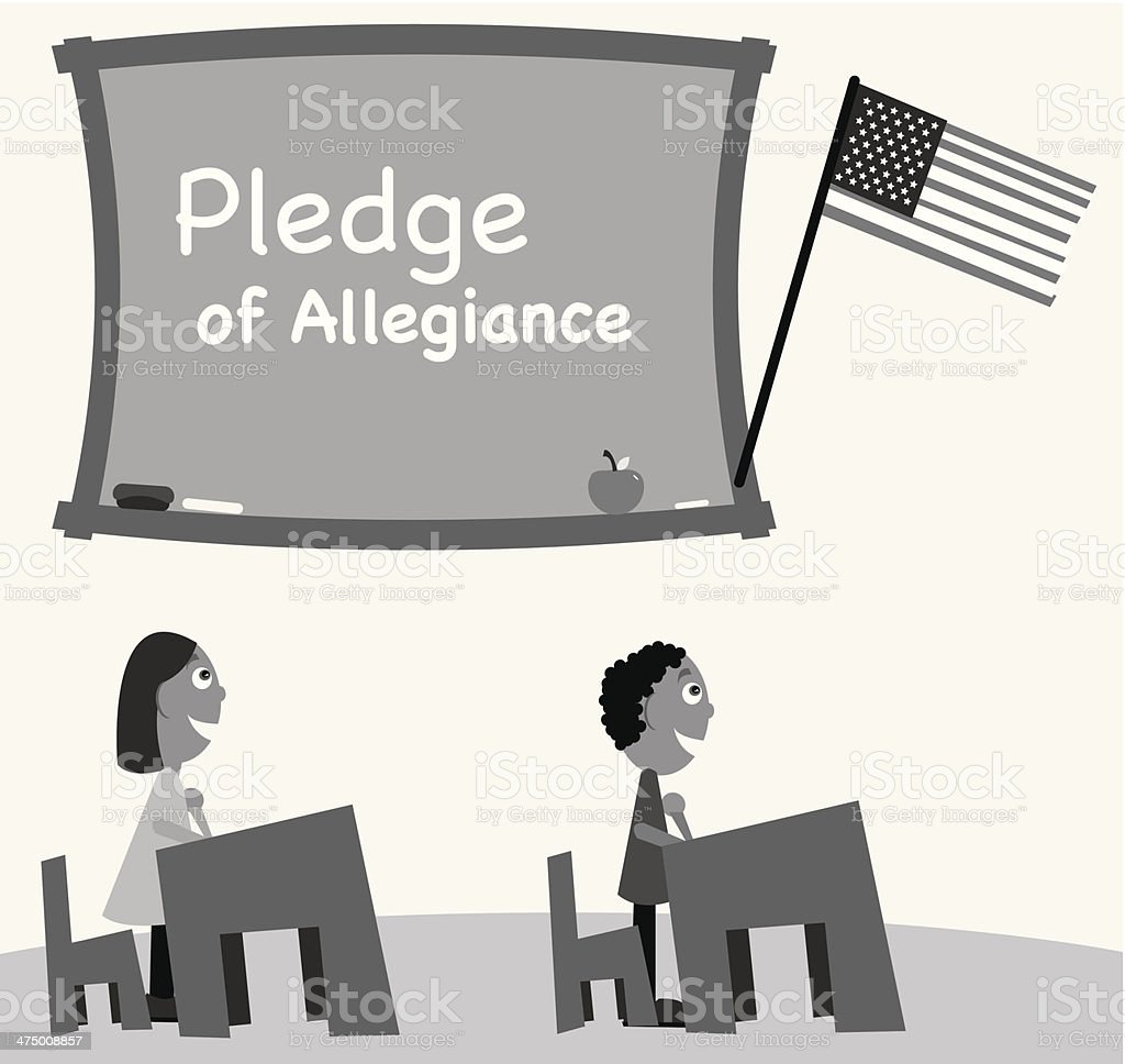 Kids Saying Pledge royalty-free stock vector art