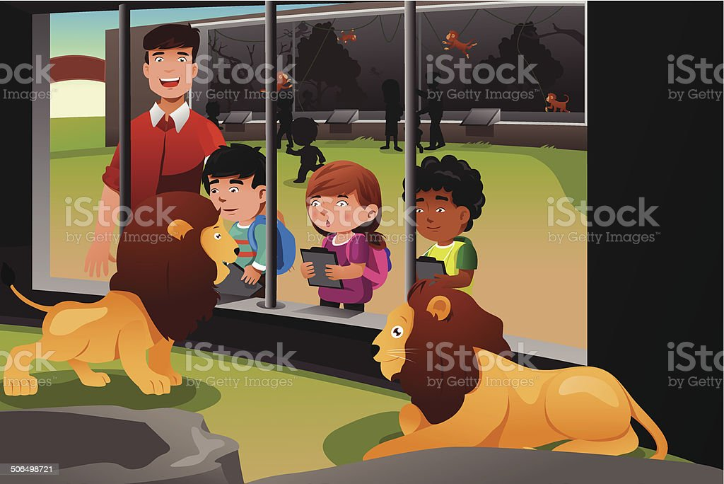 Kids school field trip to the zoo vector art illustration