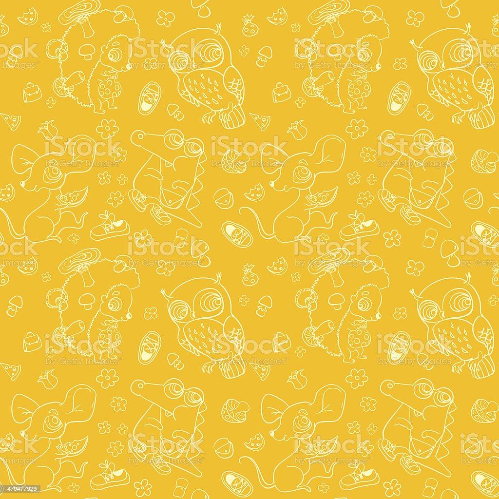 Kids seamless background. Cute animals: owl, crocodile, mouse, hedgehog. royalty-free stock vector art