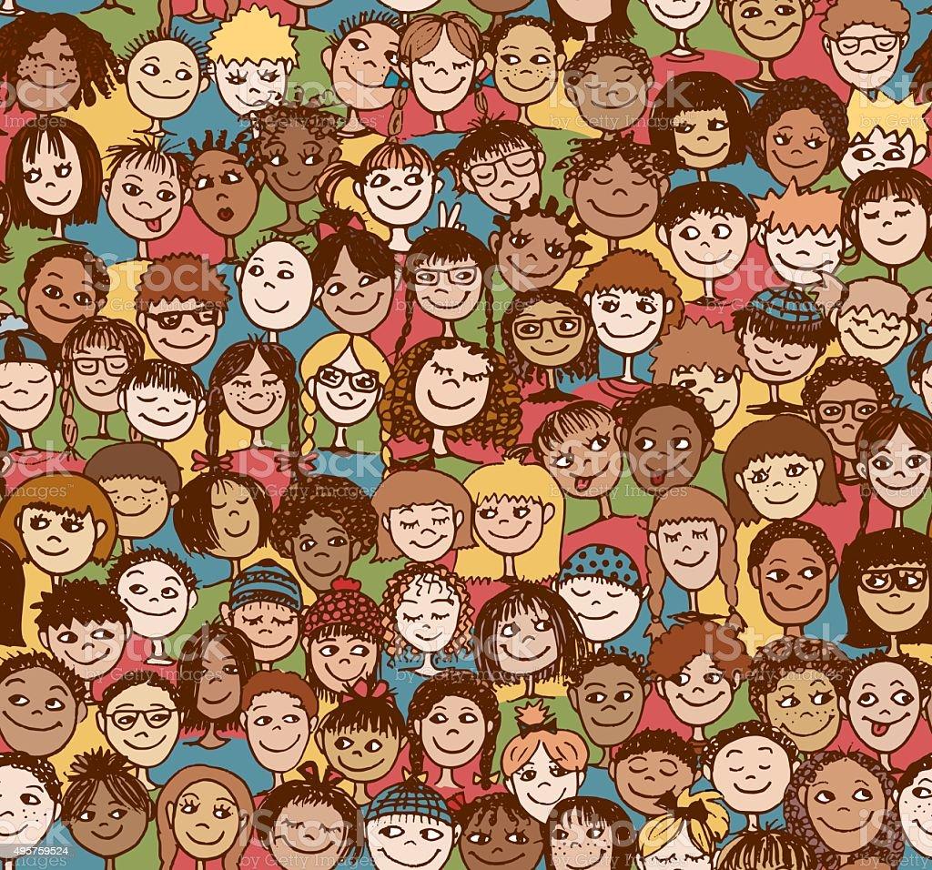 Kids seamless pattern vector art illustration