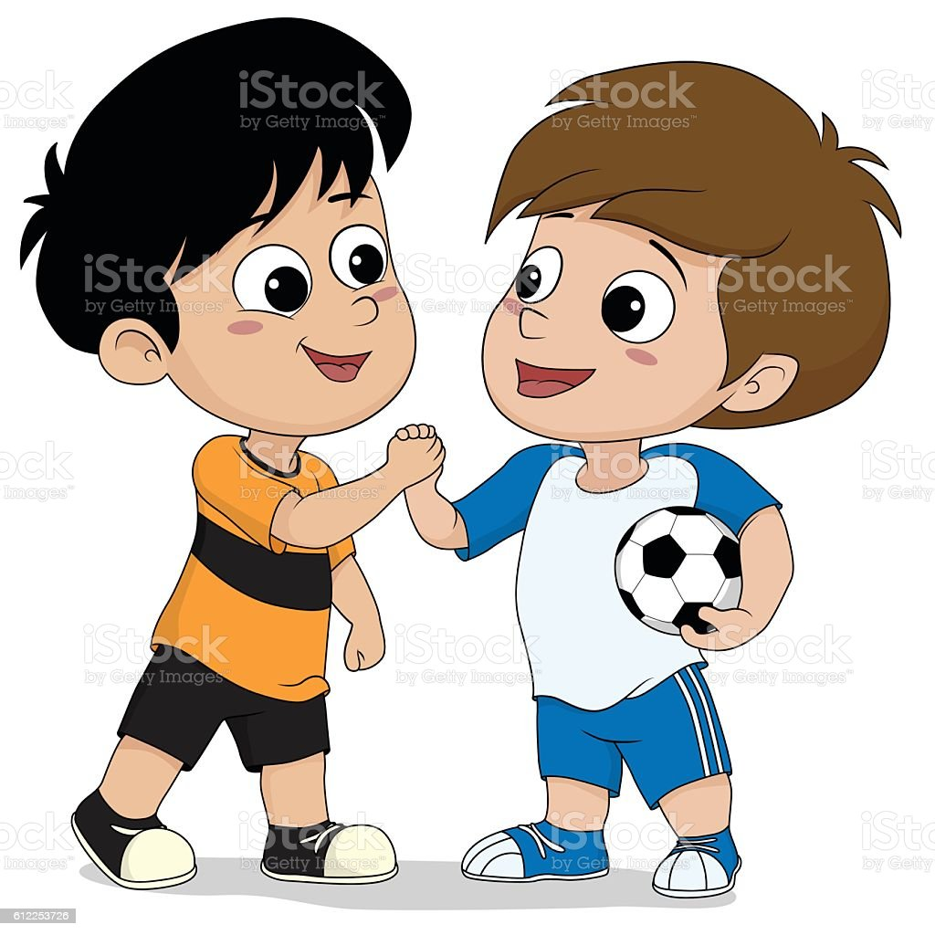 kids shake hand after football match finish. stock vecteur libres de droits libre de droits