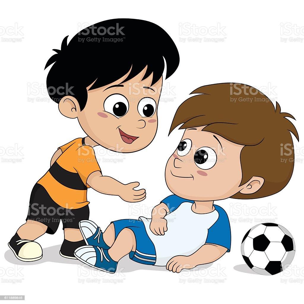 kids show good sportsmanship during soccer match. stock vecteur libres de droits libre de droits