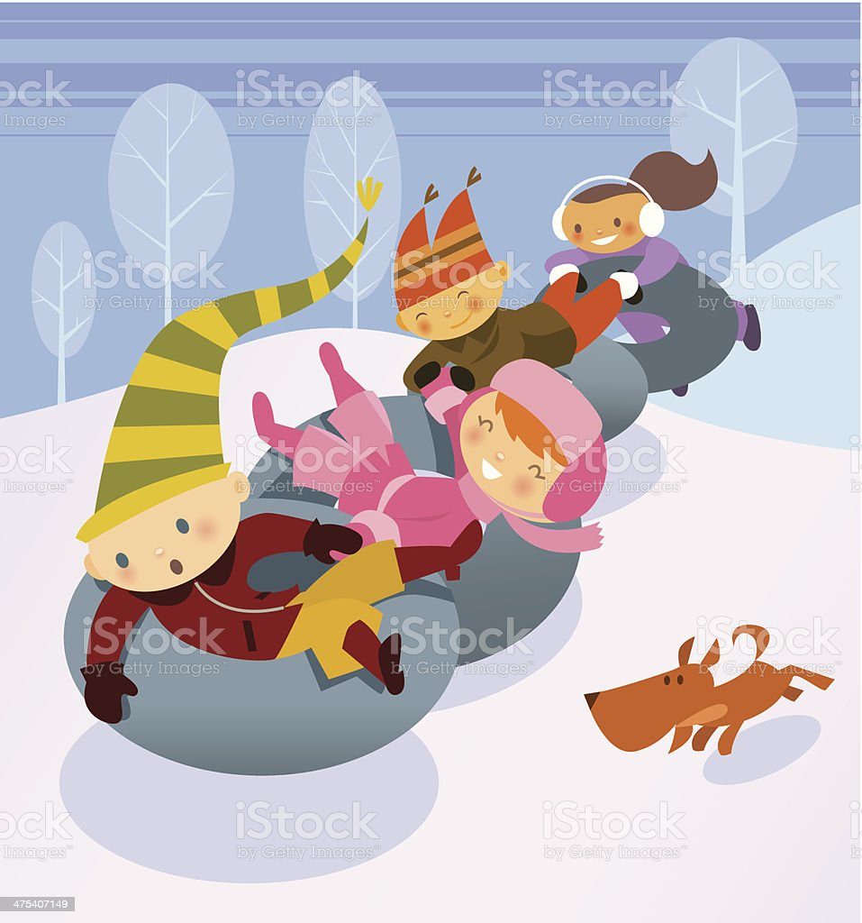 Kids Snow Tubes C vector art illustration