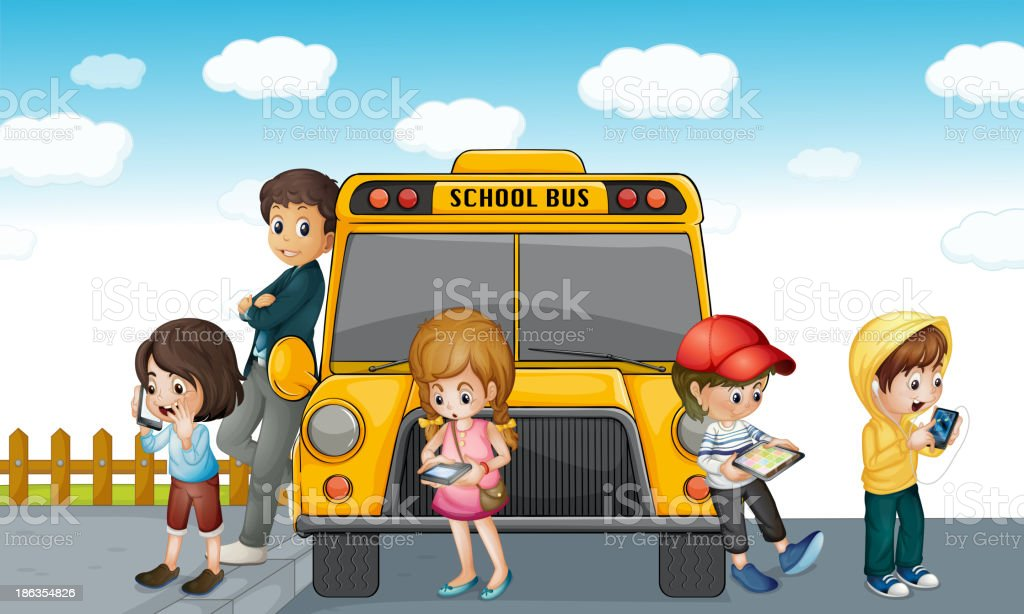 kids standing outside school bus royalty-free stock vector art