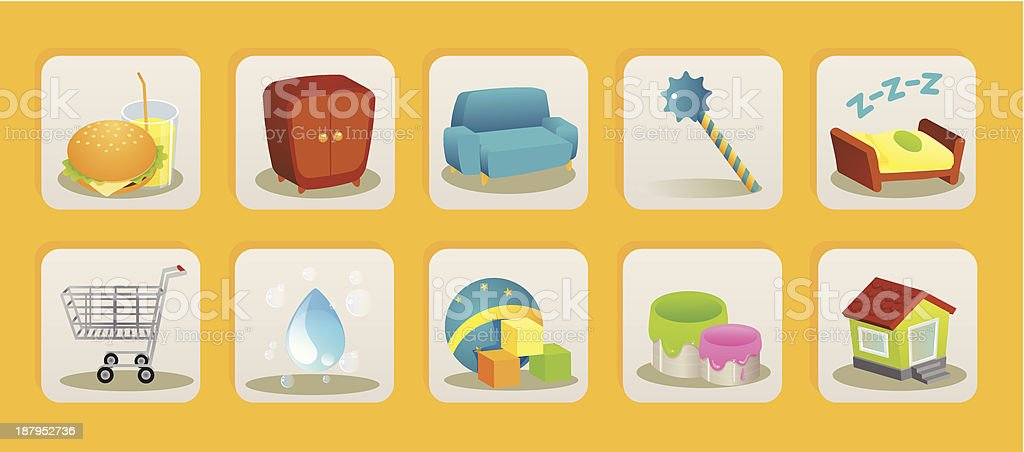 kids stuff icons royalty-free stock vector art