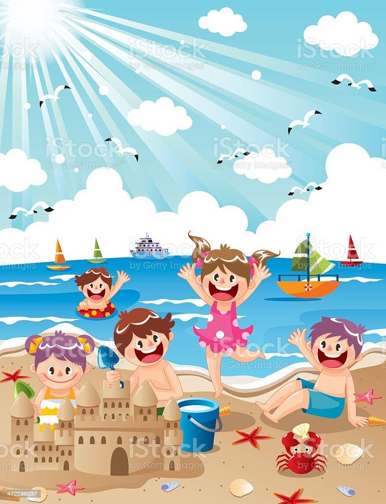 Kids Summer Beach vector art illustration