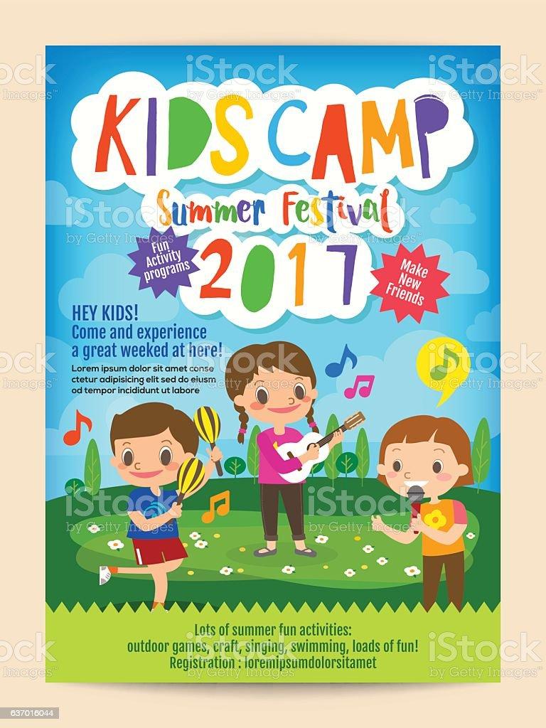 kids summer camp education poster flyer vector art illustration