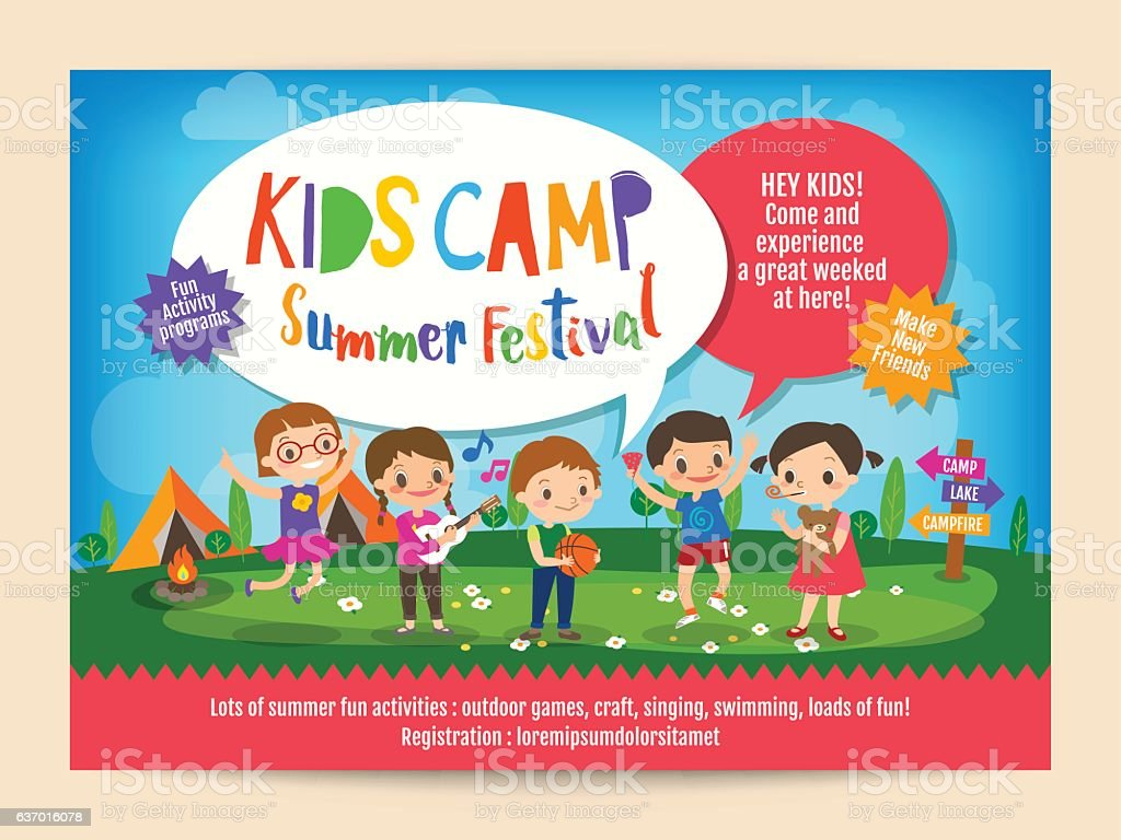 kids summer camp education poster flyer vector art illustration