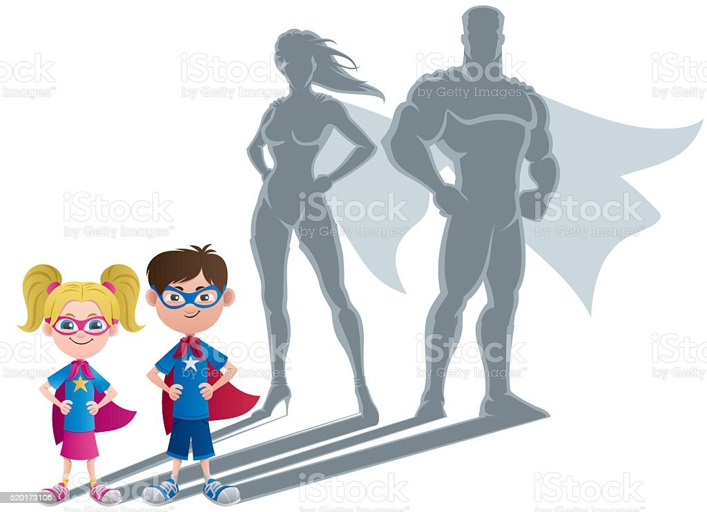 Kids Superhero Concept vector art illustration