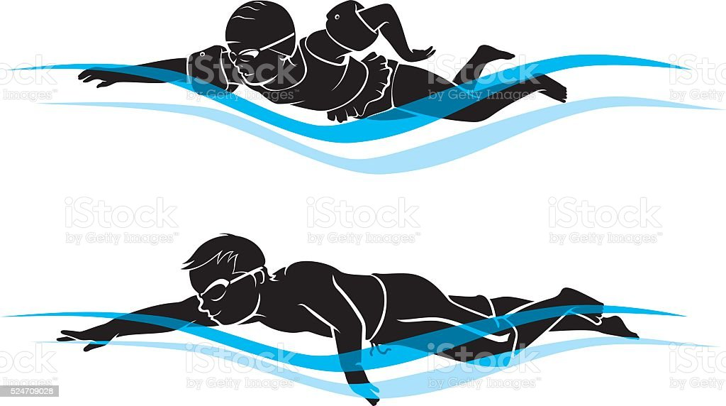 Kids Swimming vector art illustration