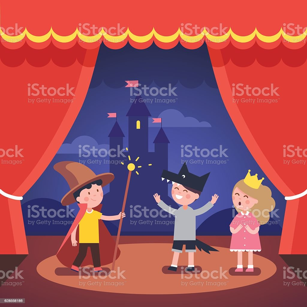 Kids theater performance show on scene vector art illustration