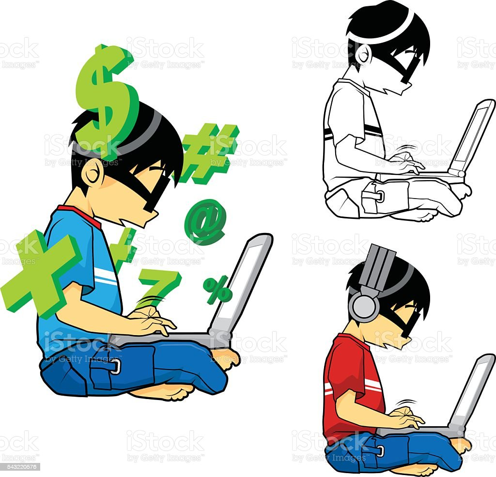 Kids These Days - Cartoon Character vector art illustration