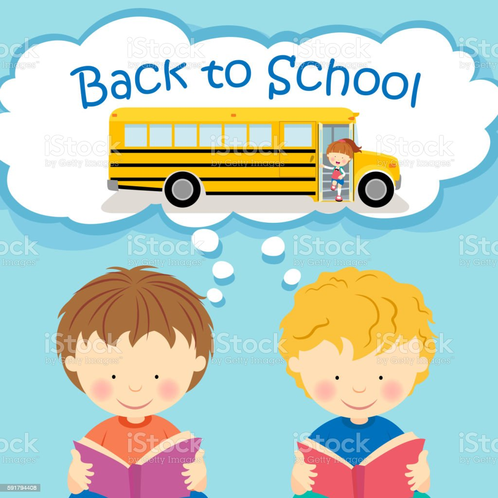Kids Thinking Back to School vector art illustration