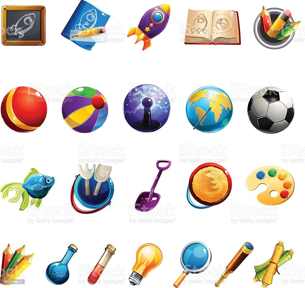 Kids Toys And Objects vector art illustration