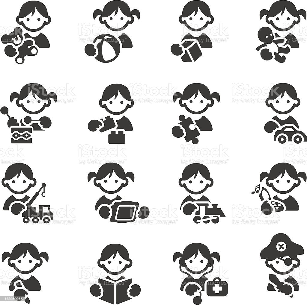 Kids toys icons vector art illustration