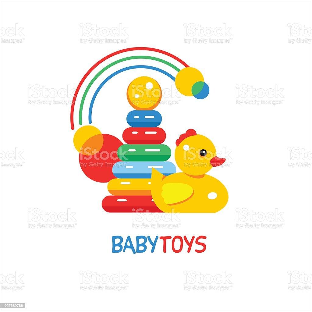 Kids toys. Pyramid, ducky and the rainbow. vector art illustration