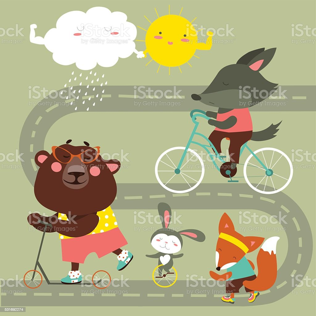 Kids transport collection with cute animals vector art illustration