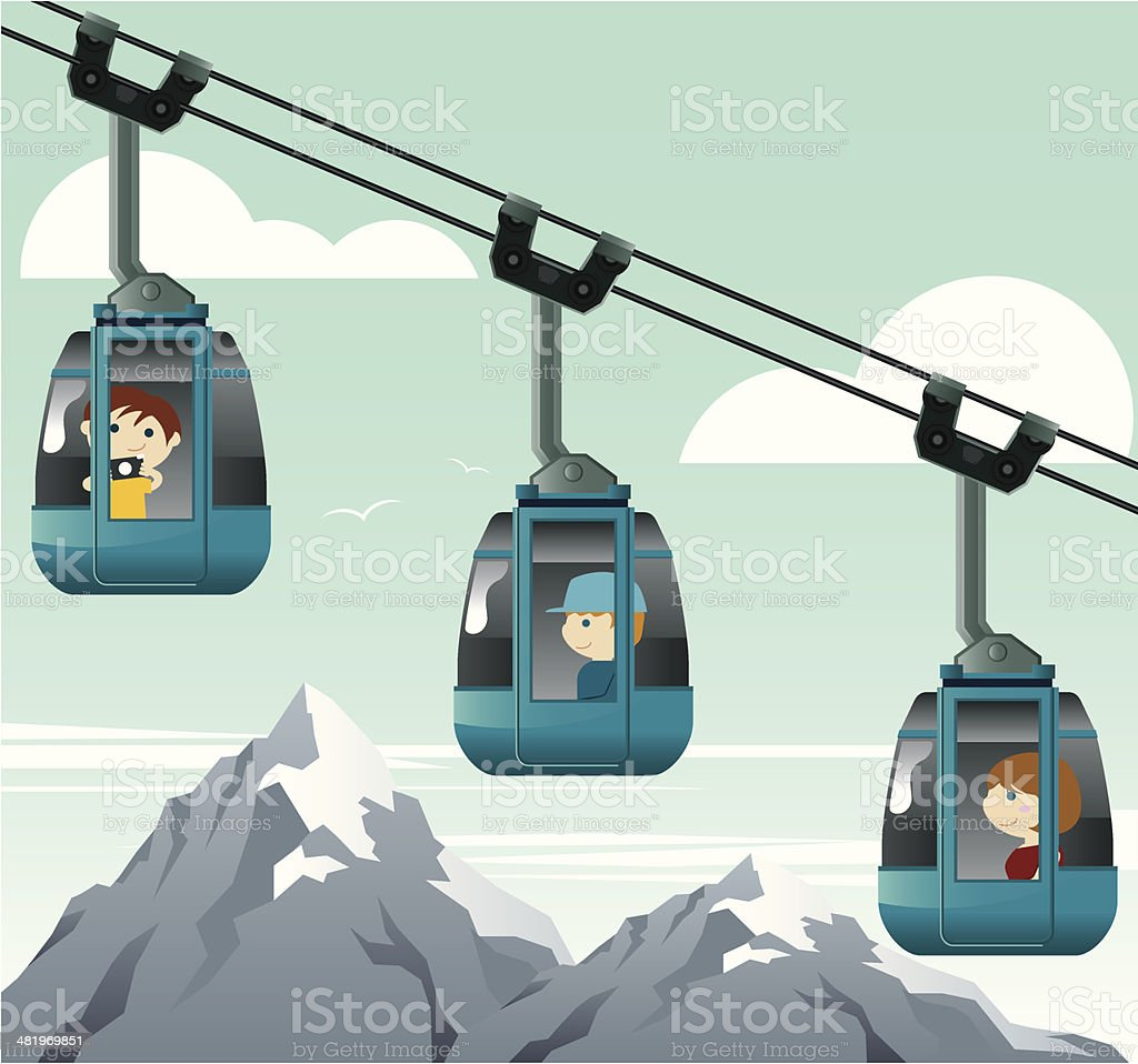 Kids travelling with cable car vector art illustration