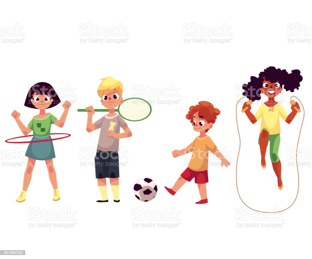 Kids twirling hula hoop, playing badminton, soccer, jumping over rope vector art illustration