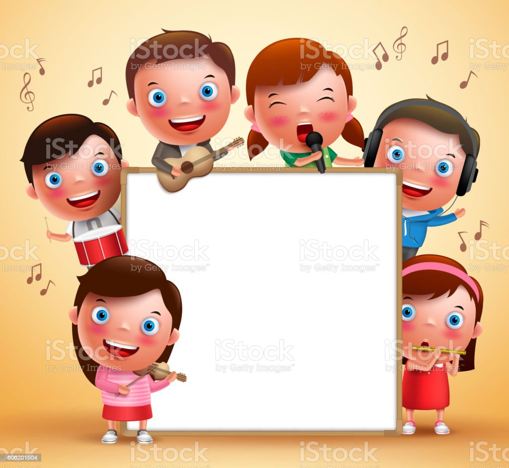 Kids vector characters playing musical instruments and singing vector art illustration