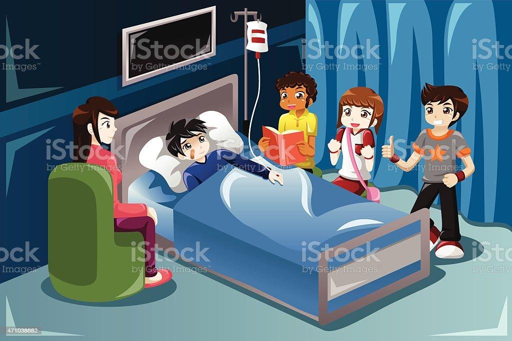 Kids visiting their friend in hospital vector art illustration