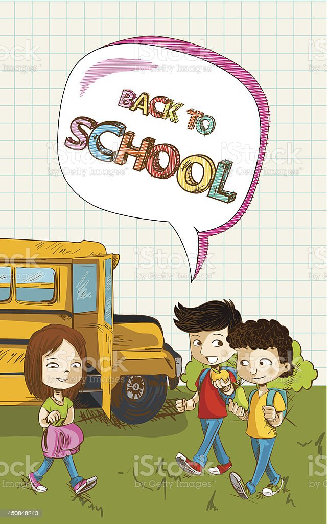 Kids walking from school bus. royalty-free stock vector art