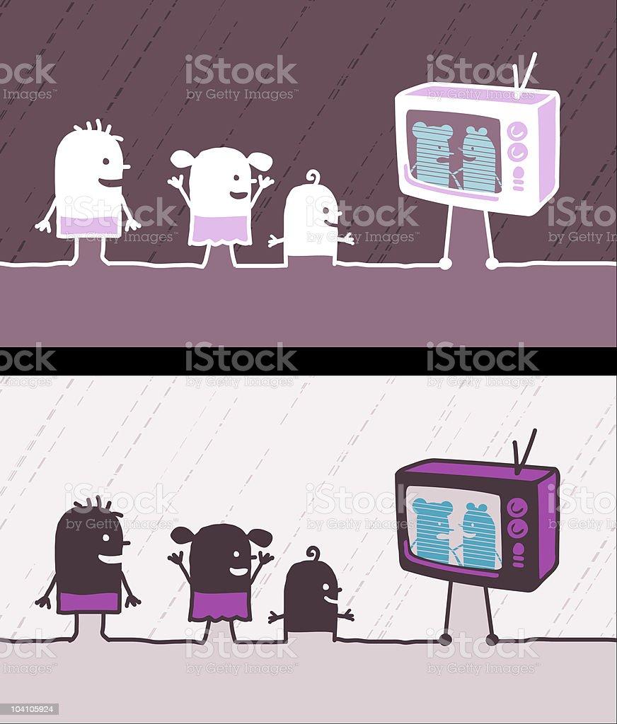 kids watching TV royalty-free stock vector art