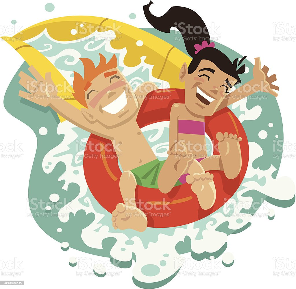 Kids Waterslide C vector art illustration