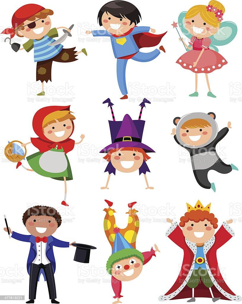 kids wearing costumes vector art illustration