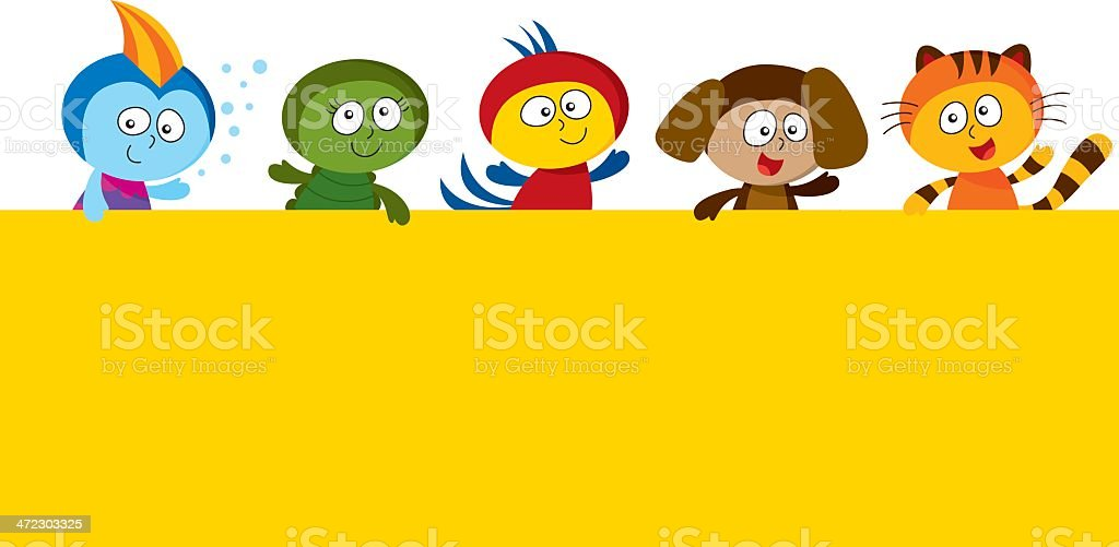 Kids wearing pets costumes holding a big sign royalty-free stock vector art