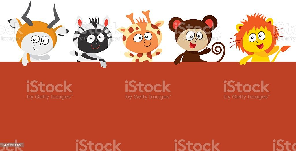 Kids wearing zoo animals costumes holding a big sign vector art illustration