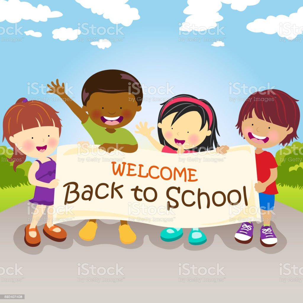 Kids Welcoming Back to School vector art illustration