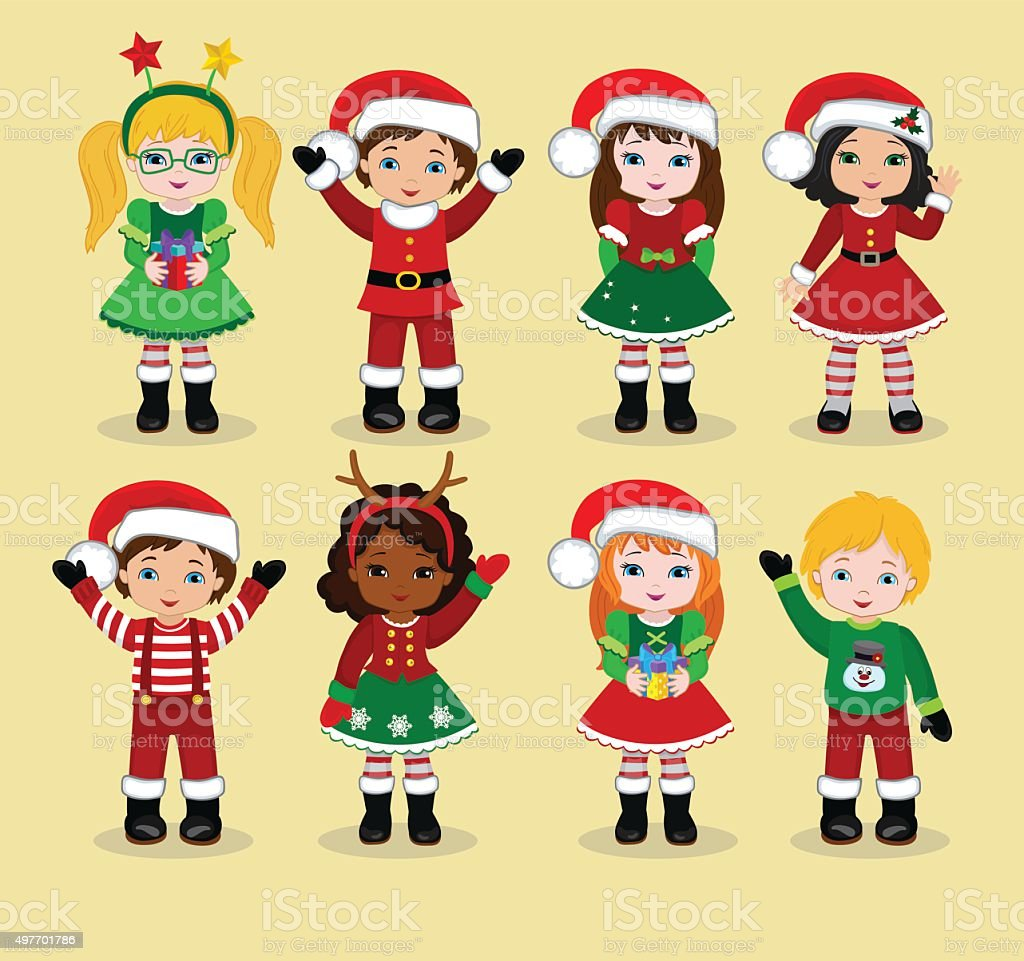 Kids With Christmas Costume vector art illustration