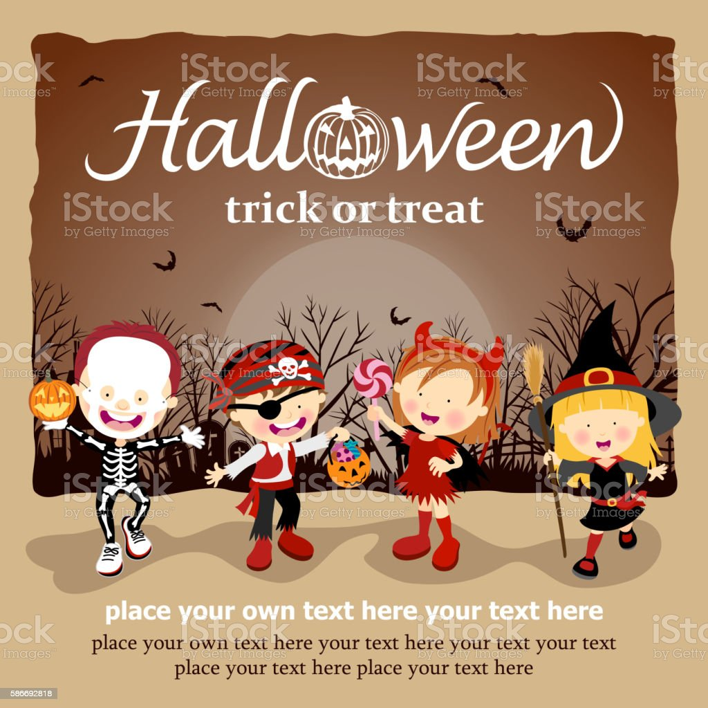 Kids with Halloween Costume vector art illustration