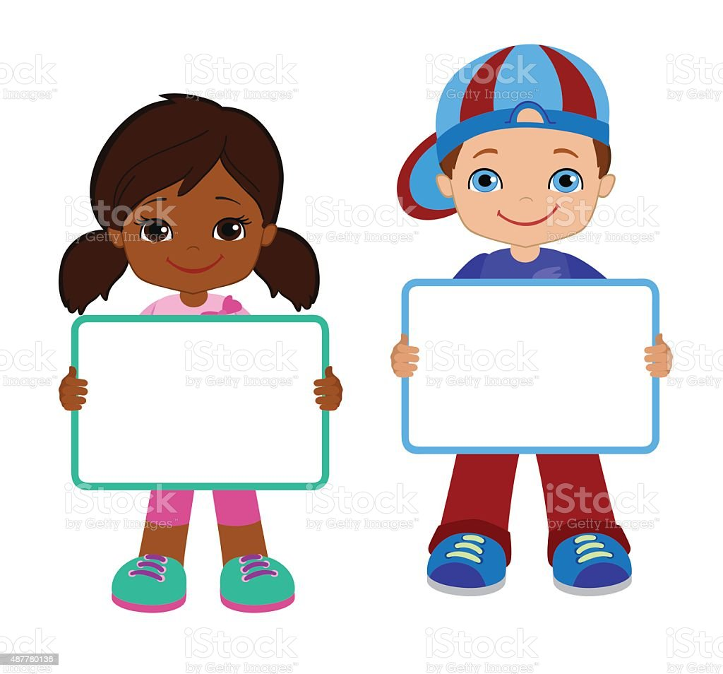 Kids with Signs. Bricht Kids .Frame Board. Clipart. Child meeting frame white board. vector art illustration