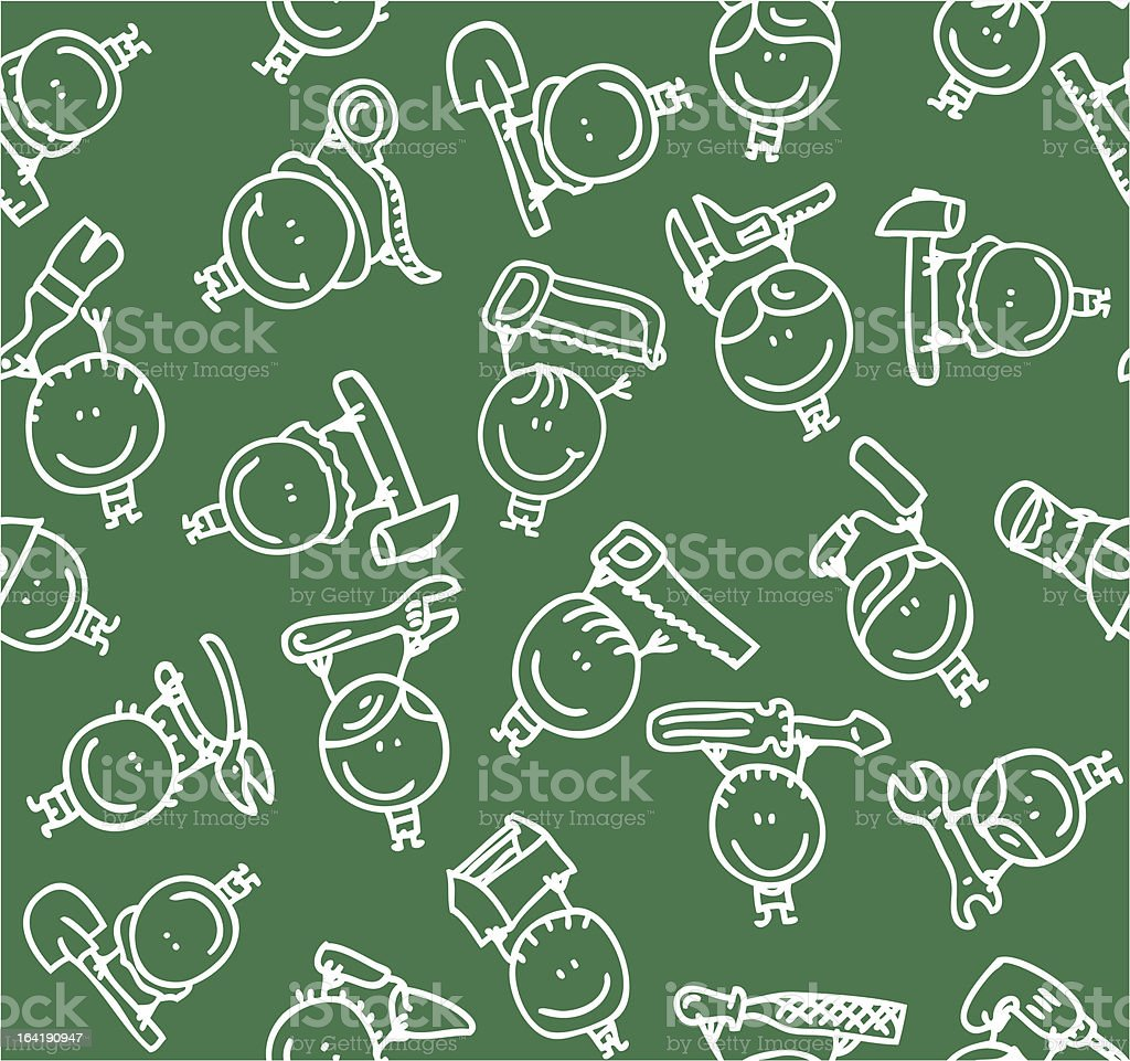 Kids with tools pattern royalty-free stock vector art