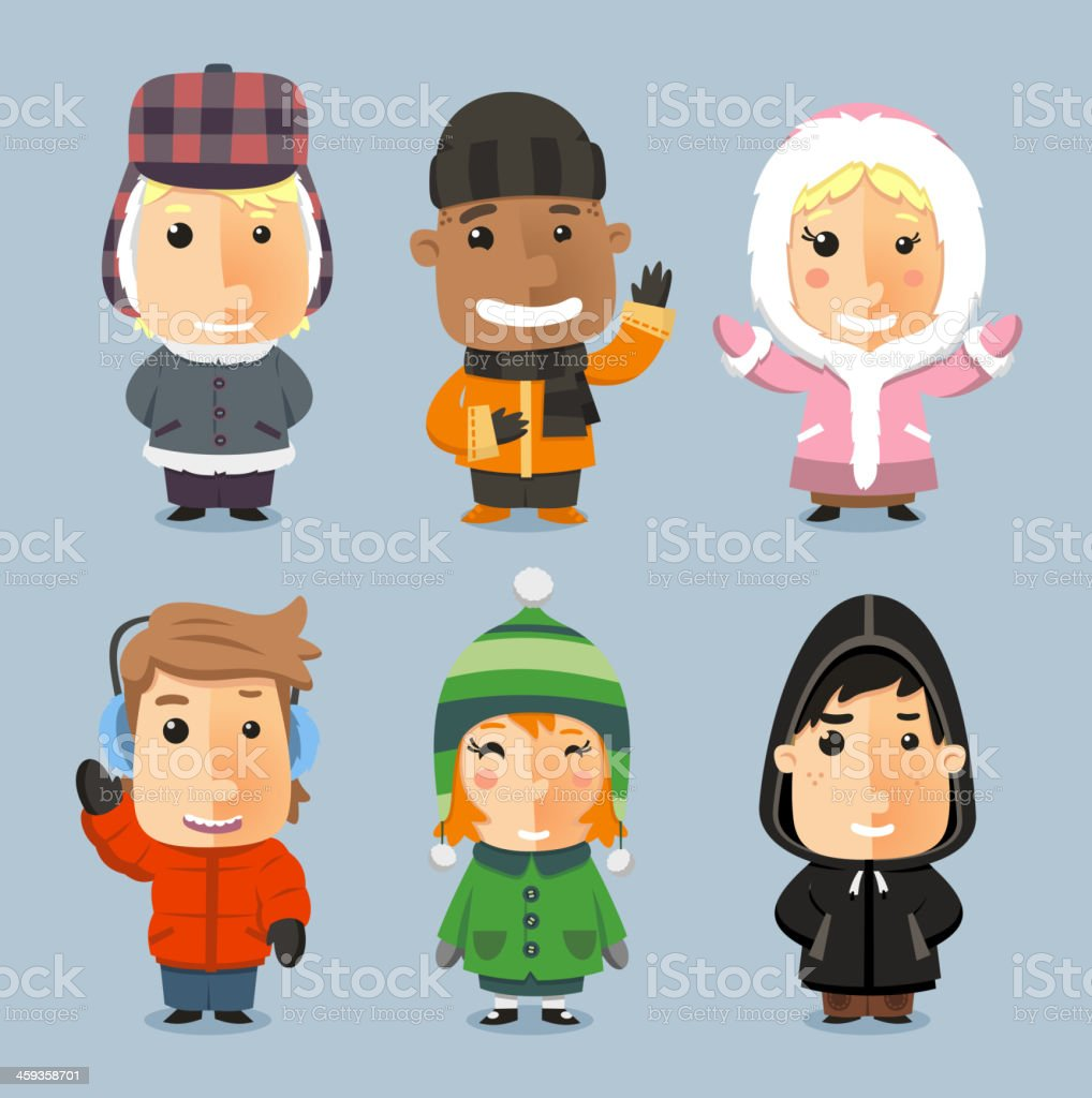 Kids wrapped up with Winter Cloth Sheltered vector art illustration