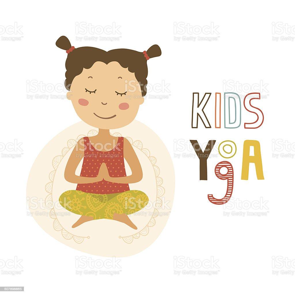 Kids Yoga, Logo Yoga Club vector art illustration