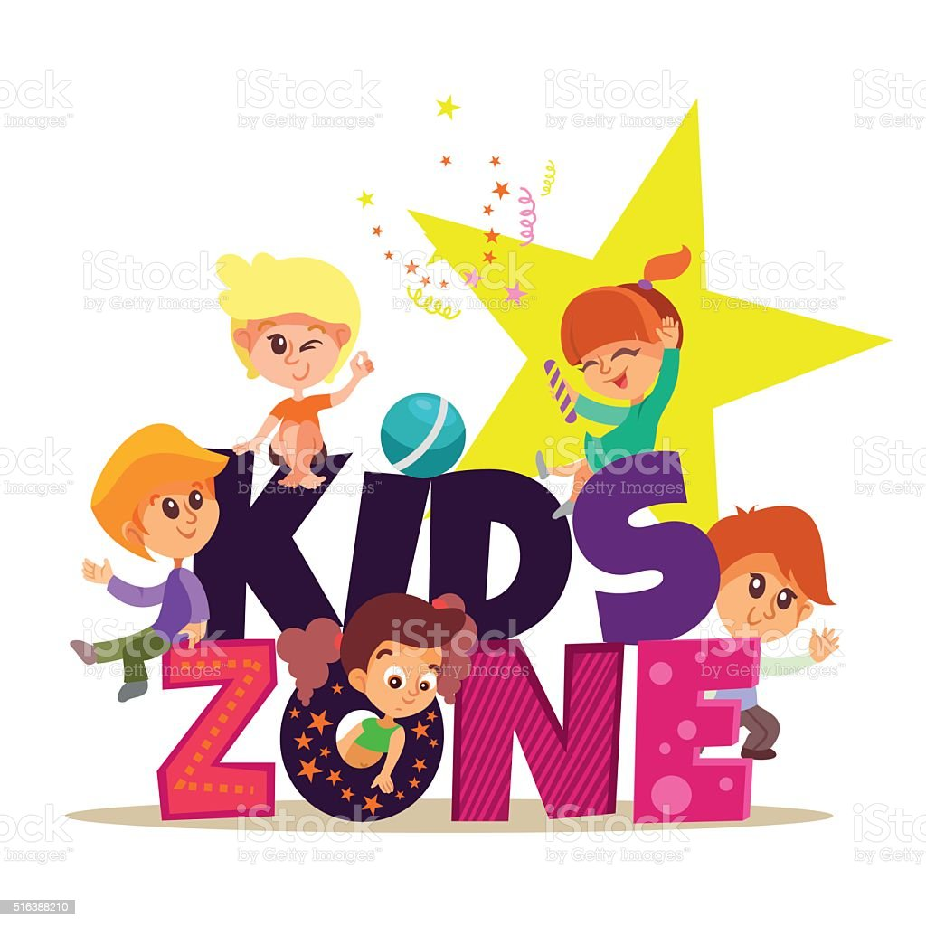 Kids zone banner with group of boys and girls playing. vector art illustration