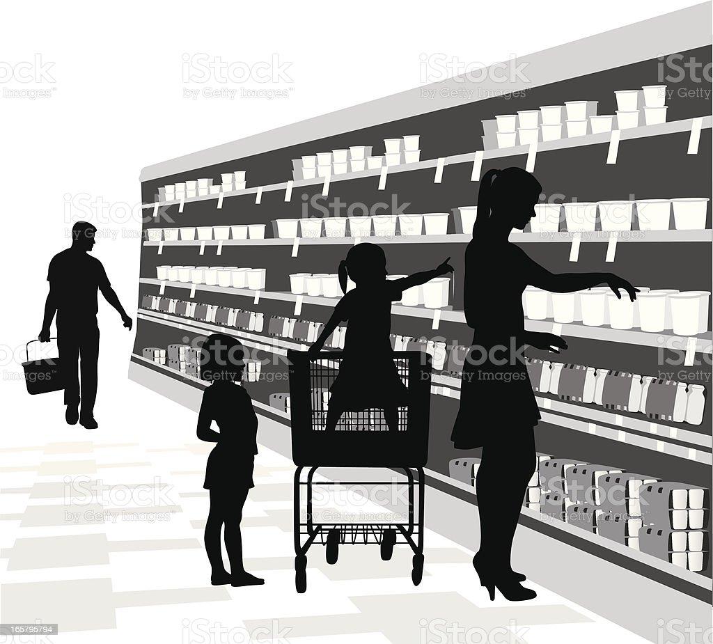 Kids'n Groceries Vector Silhouette royalty-free stock vector art