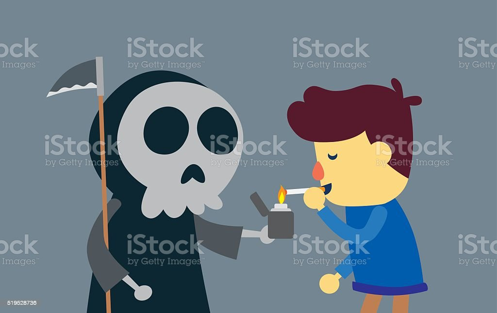Kill man with smoking vector art illustration