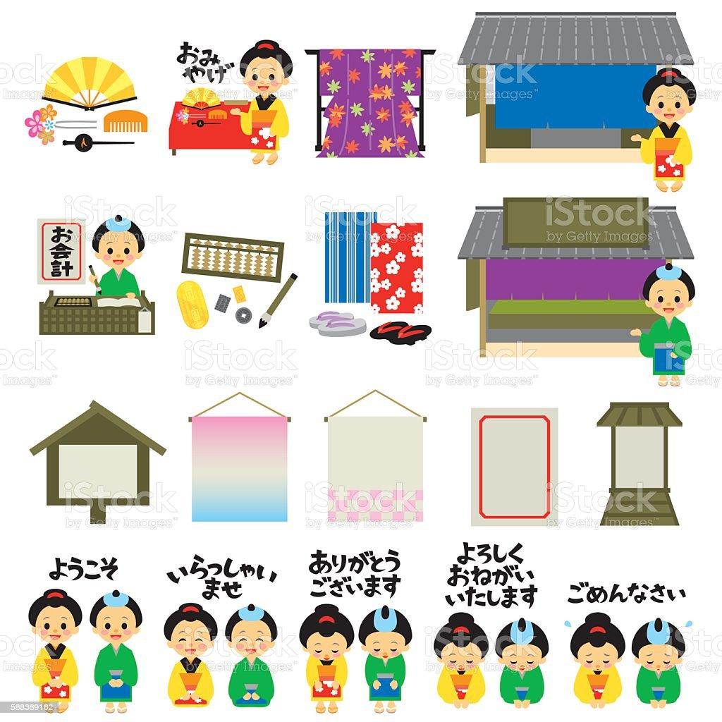 Kimono shops in Japan's Edo era, Japanese version vector art illustration