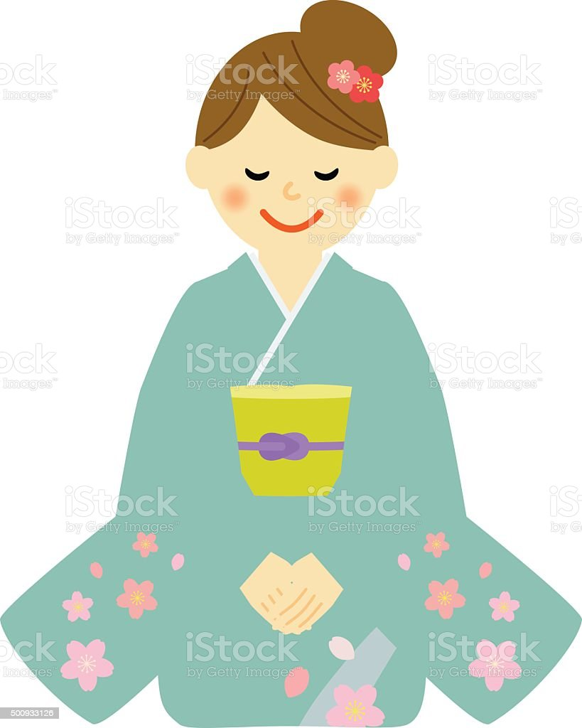 kimono woman sitting on a floor. vector art illustration