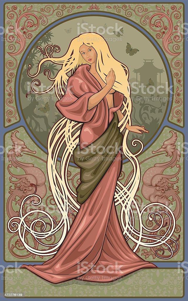 kimono woman vector art illustration