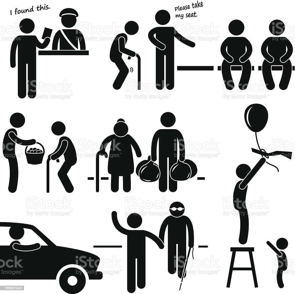 Kind Good Hearted Man Helping People Pictogram royalty-free stock vector art