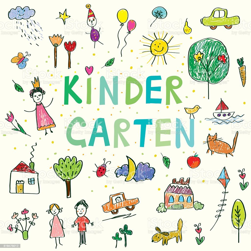 Kindergarten banner with funny kids drawing vector art illustration