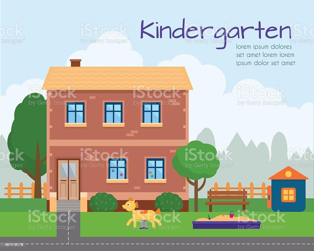 jardines de infancia jugando edificio con patio de juegos para nios libre de derechos