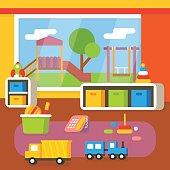 Kindergarten classroom, preschool room interior. Flat design vector illustration